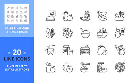 Line icons about vegan food. Contains such icons as fruit, vegetables, soy beans, superfoods, whole grains, tofu, hebs and spices. Editable stroke. Vector - 64 pixel perfect grid
