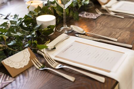 wedding table setting in green vintage style Stock fotó