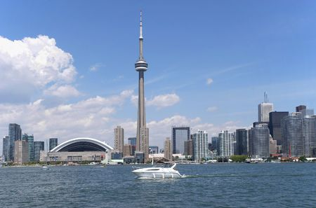building cn tower: Toronto skyline from Lake Ontario