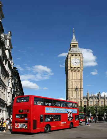 London, England, July 13, 2009.  Big Ben and a Double Decker Bus Stock Photo - 9073442