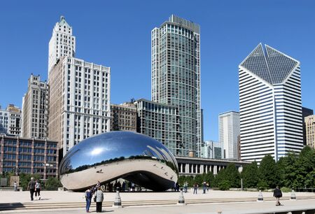 Chicago, August 6, 2008.  Millennium Park, Bean Sculpture Stock Photo - 9073446