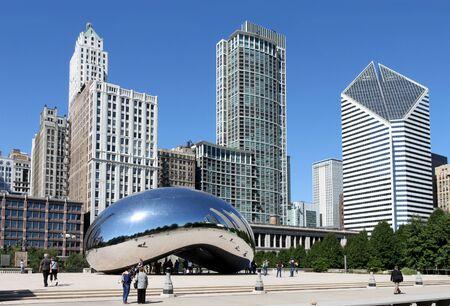 Chicago, August 6, 2008.  Millennium Park, Bean Sculpture Stock Photo - 9073446