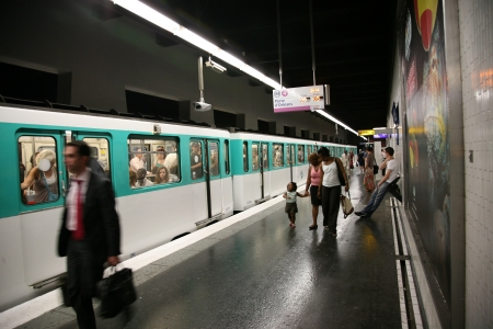 Paris, France, July 1, 2009.   Train leaving metro station