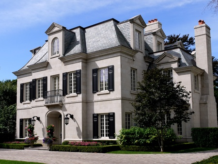 Lake Forest, Illinois, USA, Aug. 17, 2010.  Elegant mansion style house Editorial