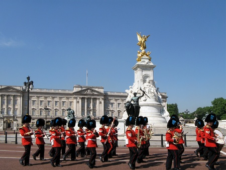 London, England, June 2007 -  marching band at Buckingham Palace