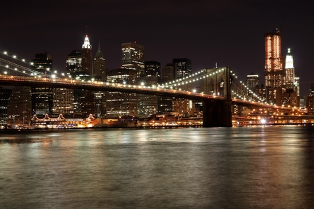 New York City, Octorber 2009 - Brooklyn Bridge at Night Stock Photo - 9777161