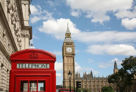 London, England, July  2009 - Big Ben and telephone booth