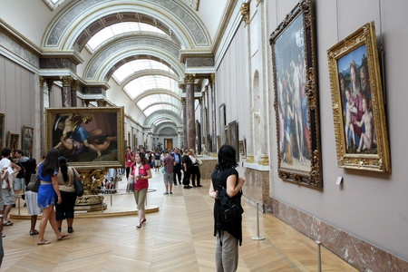 Paris, France, July 2009 - Louvre Museum long gallery Stock Photo - 9889430