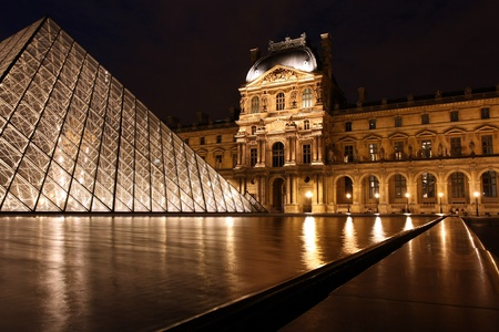 Paris, France, July 2009 - Louvre Museum Courtyard at Night Editorial