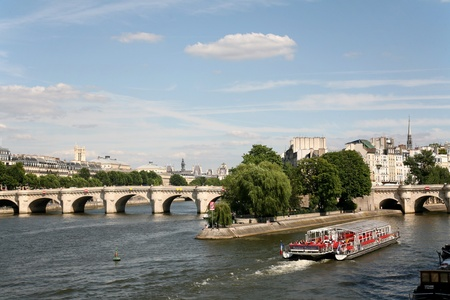 Paris, France, July 2009 - Paris skyline with Pont Neuf and River Seine Editorial