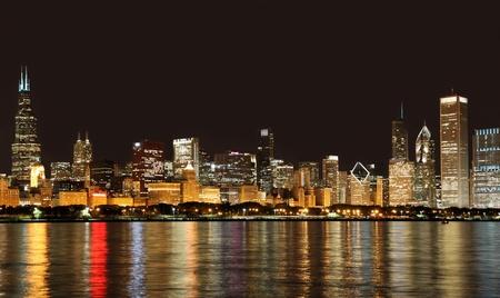 Chicago, USA, September 2010 - City skyline from Lake Michigan at night Redakční