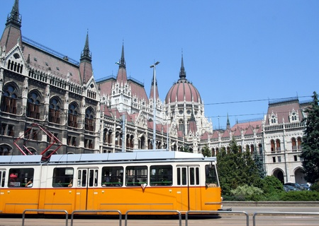 Budapest, Hungary, June 2007,  Tram Line and back of Parliament Building