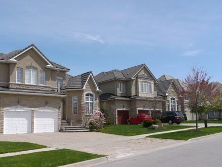 Chicago, USA, May 2011 - suburban street with modern houses Stock Photo - 9889453