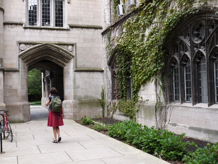 Chicago, USA, September 2010 - University of Chicago limestone gothic style building with ivy