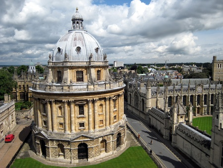 university building: Oxford, England, May 2007 - Oxford University Library, Radcliffe Camera, viewed from above, with All Souls College at the right