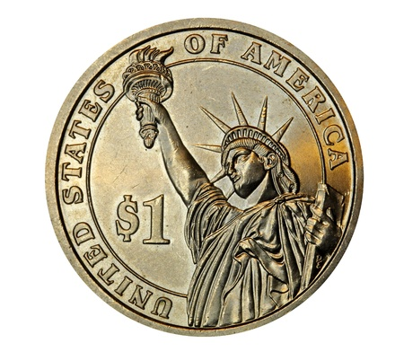 New York City, May 2011, United States statue of liberty one dollar coin Stock Photo - 10006796