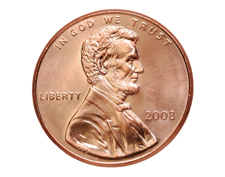 Washington, DC, 2008 -  American one cent coin with Abraham Lincoln Editorial