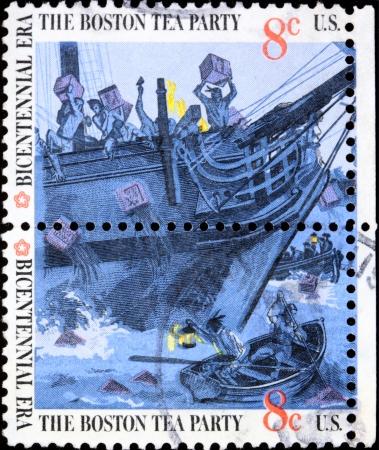 Boston, Massachusetts,  1773 - Boston Tea Party on a postage stamp Stock Photo - 10007278