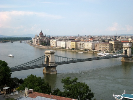 Budapest, Hungary, June 2007,  view across Danube River to Chain Bridge and Parliament