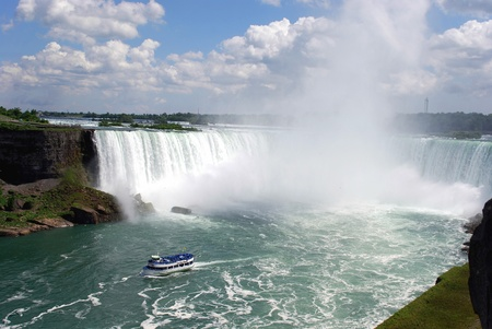 Niagara Falls, USA/Canada, June 2008 - General view of the Horseshoe Falls with Maid of the Mist Tour Boat