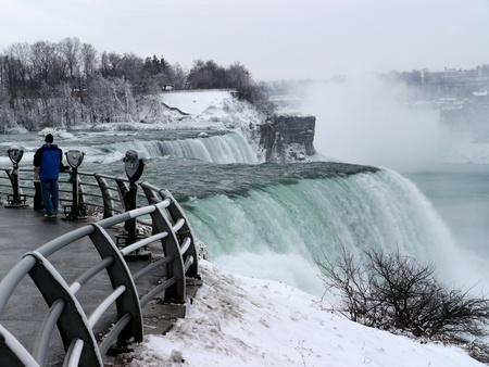 Niagara Falls, USA, December 2010 - observation area for American falls Editorial