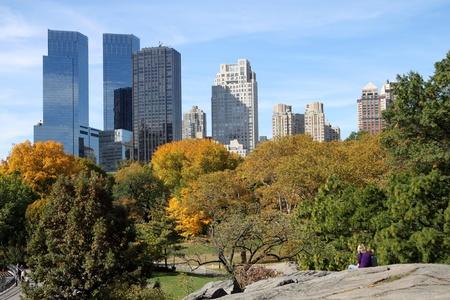 New York, NY, USA, October 2009 - Central Park with skyline Stock Photo - 10144435