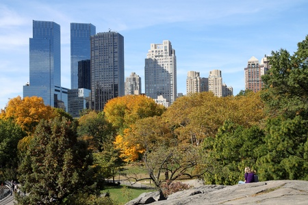 New York, NY, USA, October 2009 - Central Park with skyline Stock Photo - 10144435