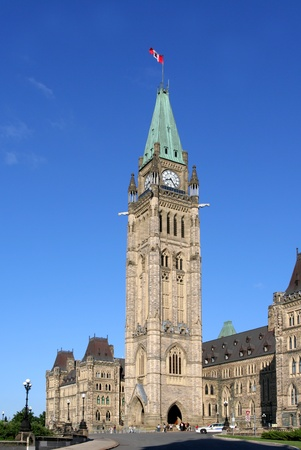Ottawa, Canada, August 2007 -- Peace Tower of the Parliament Building of the Federal Government of Canada in Ottawa