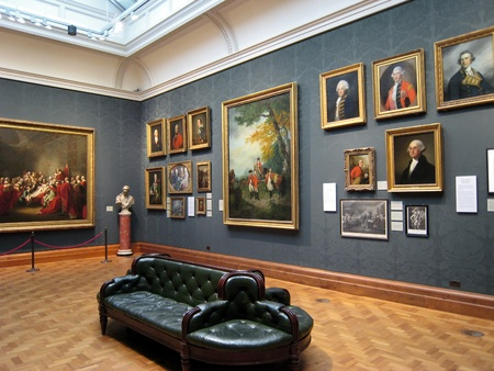 Londýn, Anglie, červen 2007 - Portréty osmnáctého století vojenských důstojníků v National Portrait Gallery, včetně George Washingtona Redakční