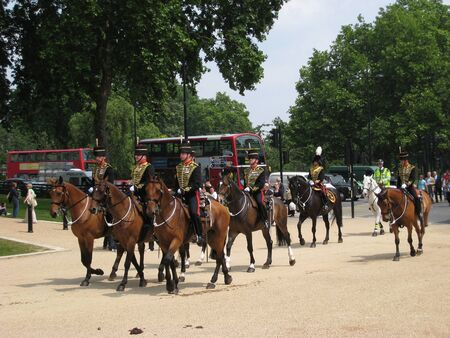 London, England, June 2007 - Mounted soldiers in ceremonial uniform near Hyde Park