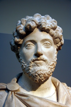 London, England, June 2007 -  Ancient bust of Roman Emperor Marcus Aurelius in the British Museum