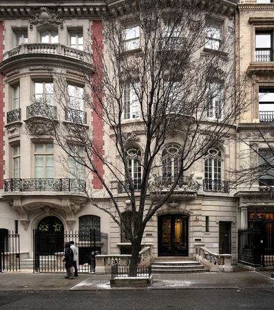 near side: New York City, December 2008  - Elegant townhouse near fifth avenue on upper east side