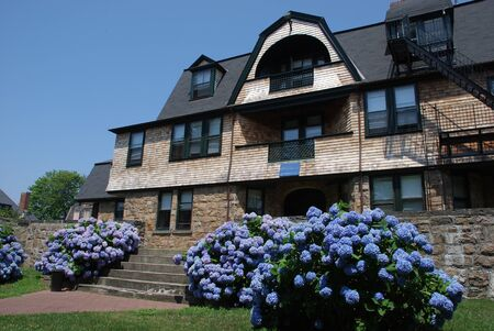 Newport, RI, USA, July 2008 - large old house with blue hydrangea with cedar shingles