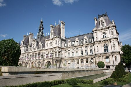 Paris, France, July 2009 - Baroque architecture of City Hall, known as Hotel de Ville Stock Photo - 10515393