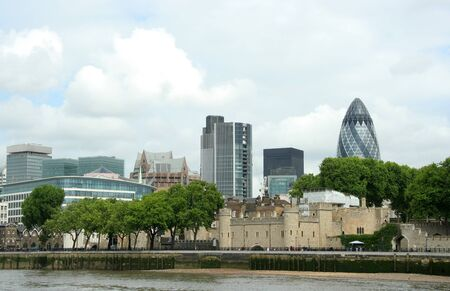 London, England, May 2007 - Tower of London with financial district skyline
