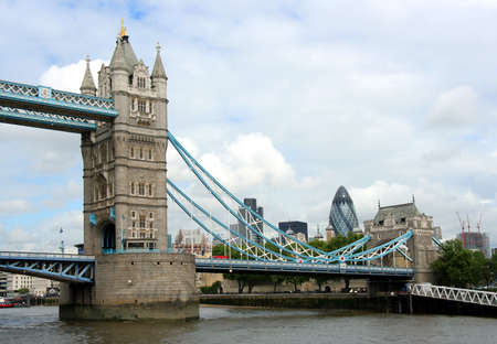 London, England, May 2007 - Tower bridge with financial district skyline Editorial