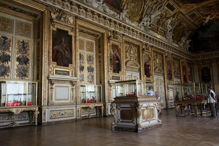 Paris, France, July 2009 - Louvre Museum, ornate panelled room