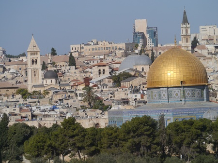 Jerusalem, Israel, October 2011 - Skyline with the walled Old City and Dome of the Rock
