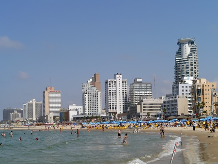 Tel Aviv, Israel, October 2011 - Beach and waterfront hotels