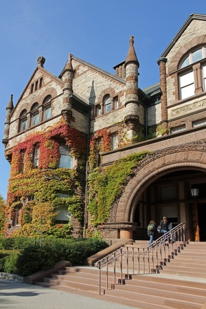 Toronto, Canada, October 2011 - Gothic style Victorian College building at the University of Toronto