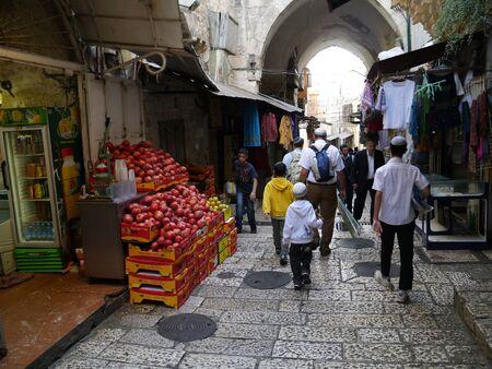 Jerusalem, Israel, October 2011 - narrow alleyways of Arab market in the Old City Editorial