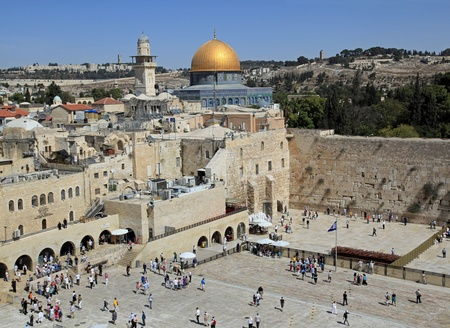 Jerusalem, Israel, October 2011 - high view of the Western Wall Plaza, Dome of the Rock, and Mount of Olives