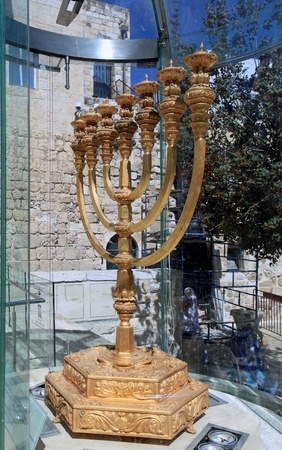 Jerusalem, Israel, October 2011 - modern reconstruction of the menorah from the ancient Temple, on display opposite the Temple Mount