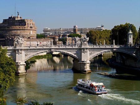 Rome, Italy, October 2011 -  Castel Saint Angelo and Vittorio Emanuele Bridge over the Tiber River  Redactioneel