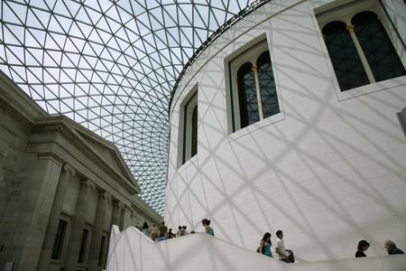 London, England - July  2009:  Modern architecture of British Museum rotunda