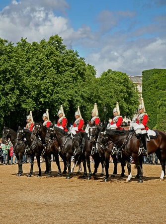 London, England - July  2009:  Royal Horse Guards on their way to Buckingham Palace