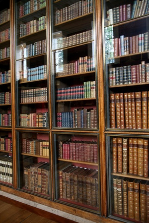 London, England - July  2009:  shelves of old books at the  British Museum Editorial