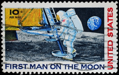issued: United States, 1969, postage stamp issued to commemorate first moon landing