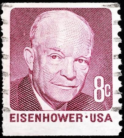 sello postal: Estados Unidos, 1971, sello emitido para conmemorar el presidente Dwight D. Eisenhower Editorial