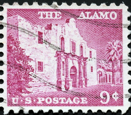 United States, 1956, postage stamp issued to commemorate the Alamo fort, site of a historic battle in Texas Stock Photo - 11185718